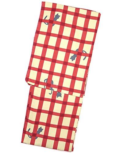 洗える着物 袷 小紋 レディース Lサイズ お仕立て上がり「黄緑×赤 猫に格子」HAL609
