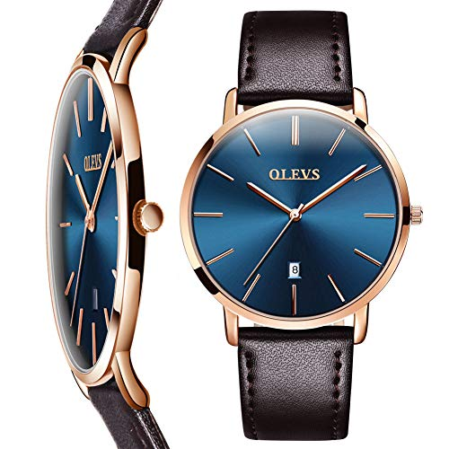 Mens Watch Blue Dial,Mens Dress Watches Brown Leather,Slim Watches for Men,Luxury Japanese Quartz Wrist Watch Ultra thin Minimalist Watch Men Rose Gold Simple Business Watch Male