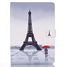 iPad Air 2 Case,Easytop Slim Flip PU Leather Folio Case Smart Cover Auto Sleep / Wake Feature Stand Case with Built-in Card Slots Cash Pocket for Apple iPad Air 2 (iPad 6) (Eiffel Tower Red Umbrella Girl)