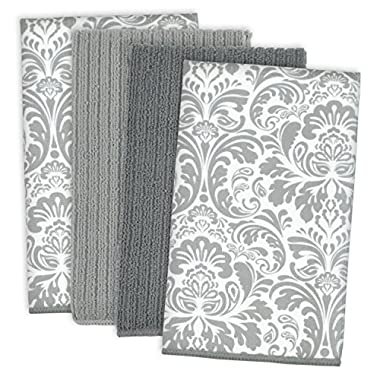 DII Cleaning, Washing, Drying, Ultra Absorbent, Microfiber Damask Dishtowel 16x19  (Set of 4) - Gray