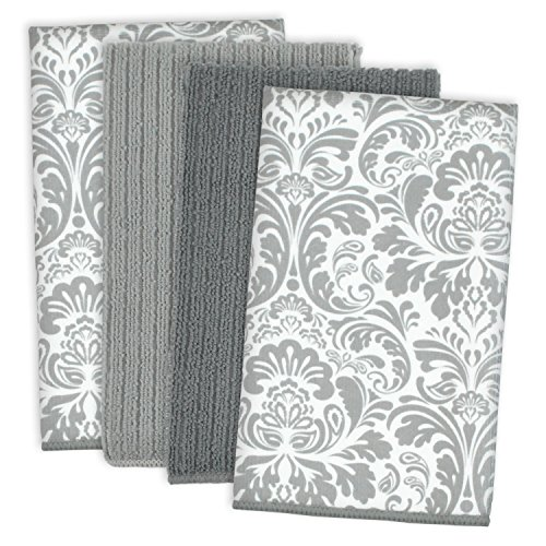 - DII Microfiber Multi-Purpose Cleaning Towels Perfect for Kitchens, Dishes, Car, Dusting, Drying Rags, 16 x 19, Set of 4 - Gray Damask