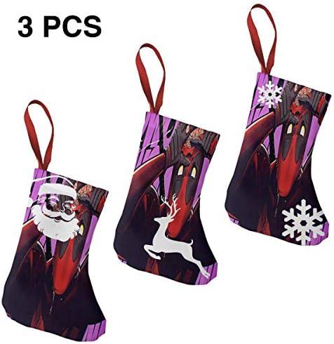 クリスマスの日の靴下 (ソックス3個)クリスマスデコレーションソックス デッドプール クリスマス、ハロウィン 家庭用、ショッピングモール用、お祝いの雰囲気を加える 人気を高める、販売、プロモーション、年次式