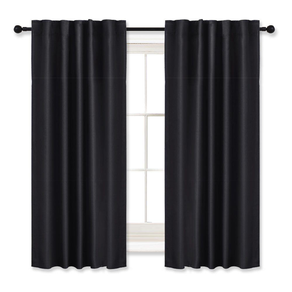 Bedroom Blackout Curtains Draperies Black - RYB HOME ( 42'' Wide x 45'' Long, 2 Pieces ) Window Treatment Room Darkening Energy Saving Back Tab & Rod Pockets with 12 Loops Curtain Panels