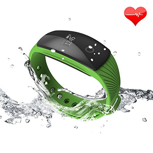 RIVERSONG Fitness Tracker Updated Version Waterproof Heart Rate Tracking Smart Bracelet Pedometer Activity Monitors Sleep Calorie Tracking Wristband Great Present (Green)