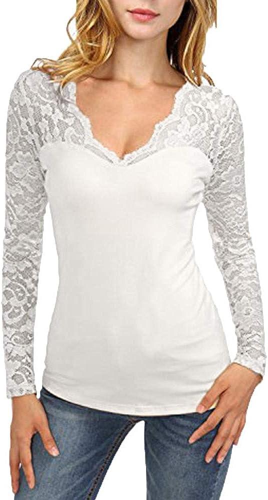 Xinantime T-Shirt Femmes Femmes R/étro Tendance Sweatshirt Femmes /à Manches Longues en Dentelle Solide Coutures T-Shirt Col V Pull Tops Blouse Tops Automne Mode Chemisier
