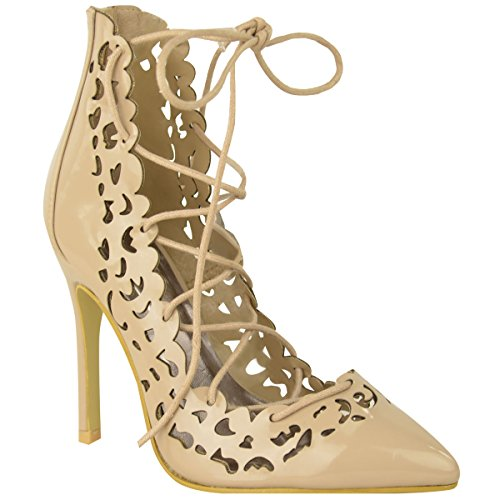 Cut Court Out Shoes (Fashion Thirsty Womens Celeb Style High Heel Lace Up Cut Out Pumps Prom Court Shoes Size 9)