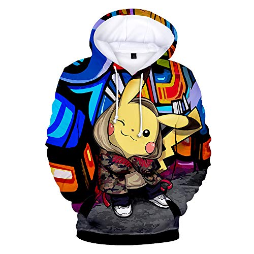 (Huytong 3D HD Unisex Hoodies Print Sweatshirts Coat Tops Pullover Pokemon)