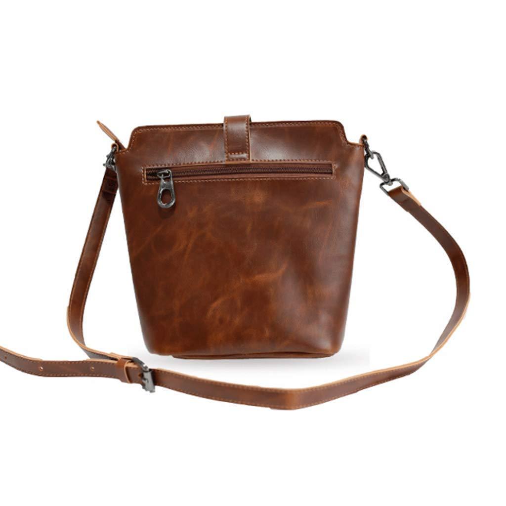 Retro Mens Shoulder Messenger Bag Crazy Horseskin Bucket Bag Color : A, Size : S