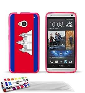 """Carcasa Flexible Ultra-Slim HTC ONE / M7 de exclusivo motivo [Camboya Bandera] [Rosa] de MUZZANO  + 3 Pelliculas de Pantalla """"UltraClear"""" + ESTILETE y PAÑO MUZZANO REGALADOS - La Protección Antigolpes ULTIMA, ELEGANTE Y DURADERA para su HTC ONE / M7"""