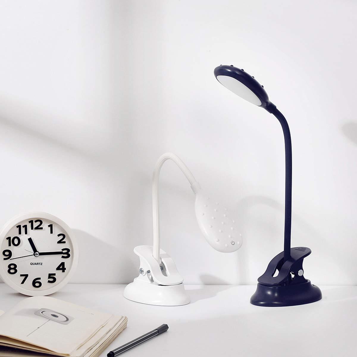 Gojiny L/ámpara de Escritorio Led Luz de Mesa con Clip Control T/áctil Atenuaci/ón Continua Luz de Lectura de Libro Recargable Azul Oscuro