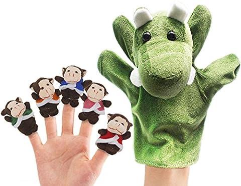 RIY Storytime Animal Finger Puppets Set - 6 Piece Five Little Monkeys Setting in a Tree Educational - Monkey Finger Puppet