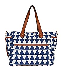 Blue Triangle Tote Bag The Libra White Elm Designer Collection Canvas & Vegan Leather Trim Diaper/Laptop