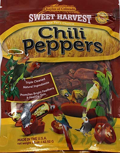 Sweet Harvest Chili Peppers Treat, 1.5 Oz Bag - Real Chili Peppers for Birds - Cockatiels, Parakeets, Parrots, Macaws, Conures (Best Sweet Pepper Varieties)