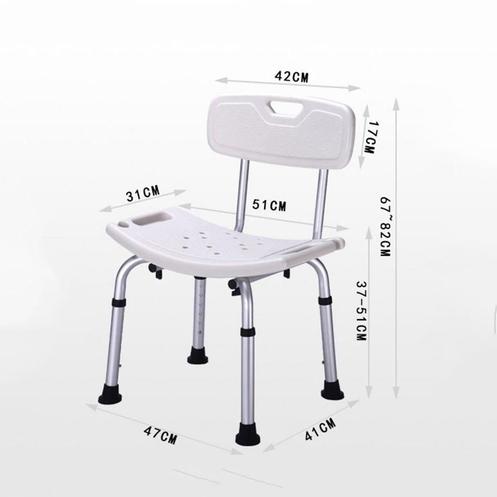シャワースツール\シャワーチェア 背もたれバス障害援助付き調節可能な高さのポータブルシャワースツールバスルームシート バスシートベンチ\バススツール B07DXK9KB2