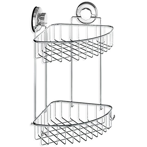 HASKO accessories - Suction Cup Corner Shower Caddy | 304 Stainless Steel Polished Chrome Shelf 2 Tier Basket Holder for Bathroom and (Corner Accessory)