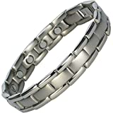 IonTopia Atlas Titanium Magnetic Therapy Bracelet Silver with Free Links Removal Tool