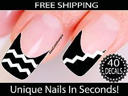 Chevron Nail Stickers - Chevron Nail Art (Classic White)