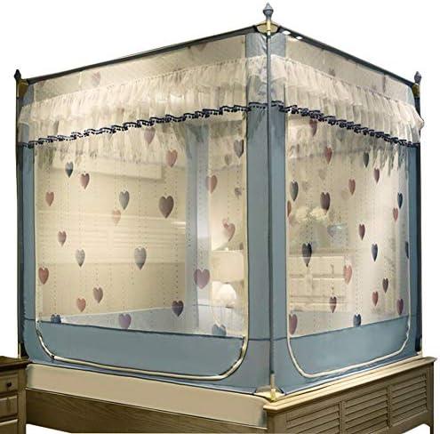 蚊帳テント,4 コーナー アンチ-倒れる ベッドキャノピー コートスタイルのレース 王のための蚊帳 クイーン ベッド-