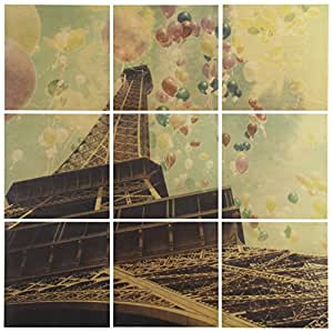 "Modern 9-Piece Mural of Balloons and Eiffel Tower on Wood, 36"" x 36"""