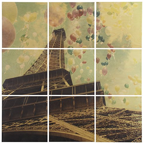 Modern 9-Piece Mural of Balloons and Eiffel Tower on Wood, 36'' x 36'' by Stone & Beam