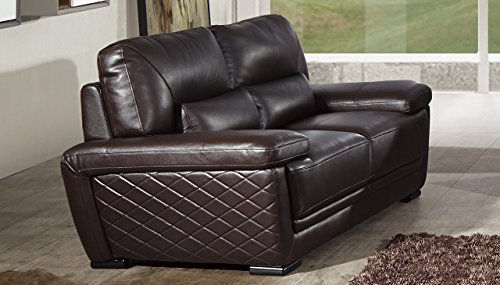 American Eagle Furniture Emma Collection Modern Top Grade Italian Leather Living Room Loveseat with Pillow Top Armrests, Dark Brown