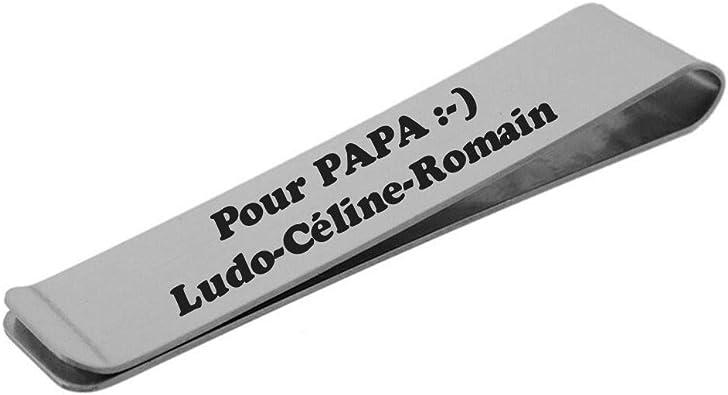 Pince /à Billets Acier Gravure Personnalis/ée Bijou Homme
