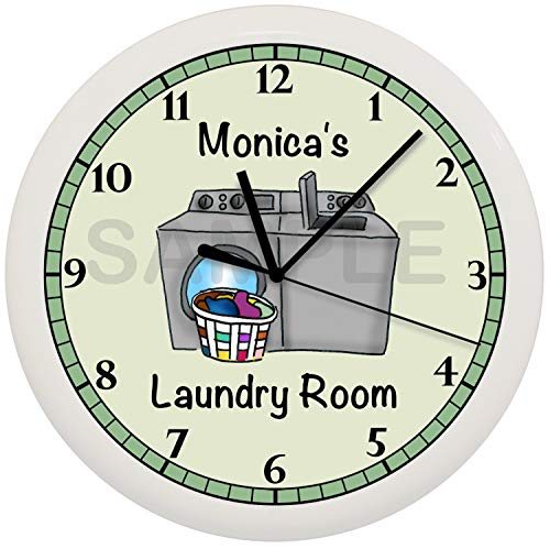 Susie85Electra Personalized Laundry Room Washing Machine Wood Wall Clock Modern Decorative Non Ticking for Living Room Kids Bedrooms 12 Inch