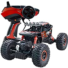 4WD RC Monster Jam Truck Off-Road Vehicle 2.4G All Terrain Remote Control Dune Buggy (Red)