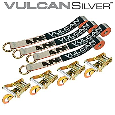 VULCAN Lasso Auto Tie Down with Snap Hooks - 2 Inch x 96 Inch, 4 Pack - Silver Series - 3,300 Pound Safe Working Load: Automotive