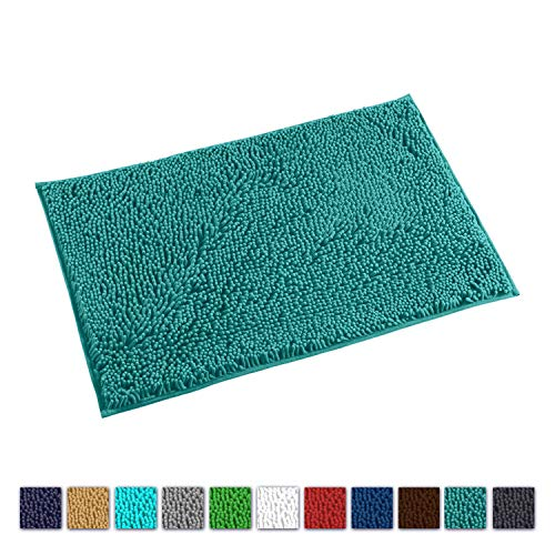 (LuxUrux Bathroom Rug Mat -Extra-Soft Plush Bath Shower Bathroom Carpet Rug,1'' Chenille Microfiber Material, Perfect Super Absorbent. Machine Wash & Dry (20'' x 30''-Turquoise))