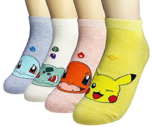 Womens Casual Socks - Cute Crazy Lovely Animal Cat Dogs Anime Character Value Socks Sets, Goods for Gift Idea. (Anime - Pokemon 4 Pairs) -