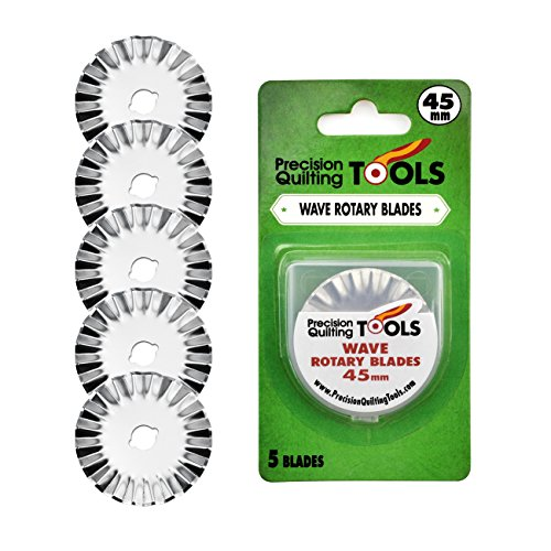 45mm Wave Rotary Blade (Pack of 5) Great pinking blade for Arts & Crafts and Scrapbooking! by Precision Quilting Tools