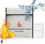 Fire Resistant Document Bag- Important Document Storage and Money Holder (12'' x 11'')| Safe, Fireproof, Waterproof Security Pouch for Cash, Home Valuables & Records Keeper| Heat Protection