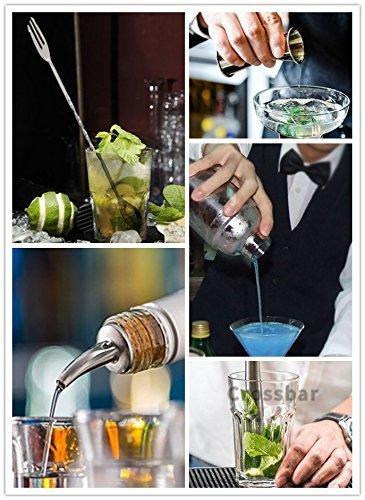 Cocktail Shaker Set Stainless Steel 6 PCS, TEPSMIGO Home Bar Cocktail Making Set Includes 24 Ounce Cocktail Shaker /10 Inch Mixing Spoon and Muddler/ Cocktail Jigger/ Liquor Pourer, Silver by TEPSMIGO (Image #4)
