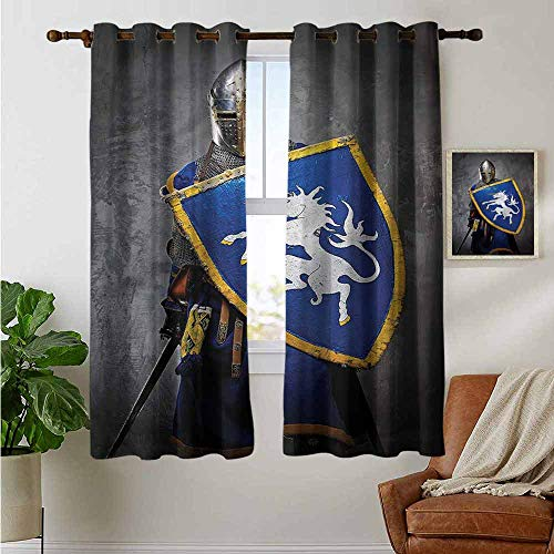 Modern Farmhouse Country Curtains Medieval,Medieval Person and Shield,Design