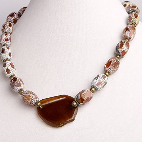 Flat Irregular Shaped Honey Brown Agate Pendant with Honey Brown Fired Agate Rectangular Shaped Beads Necklace, Earring, and Bracelet Set