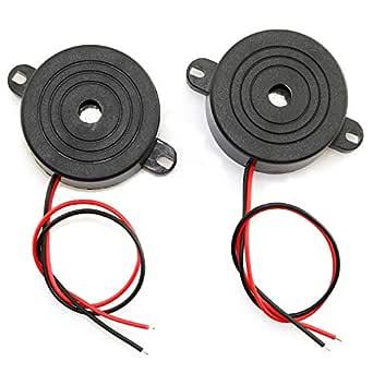 RuiLing 2-Pack DC 3-24V 85 dB Active Piezo Buzzer Piezoelectric Sound Beeper Continous Sound Car Accessries Black