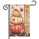 Bazaar 30x45cm Halloween Polyester Pumpkin Leaves Welcome Flag Garden Holiday Decoration