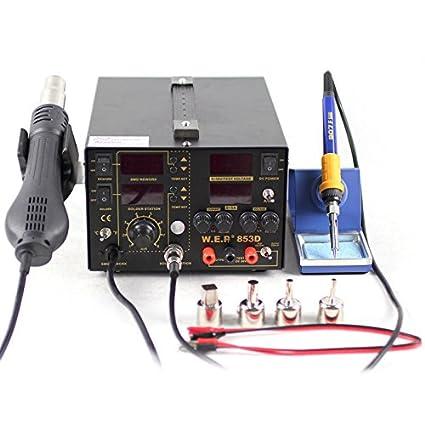 wep853d 5 A 3en1 Estación de soldadura de aire caliente Soldador SMD soldador Inverter + alimentación