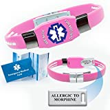 """Pre-engraved Acrylic Plate """"Allergic to Morphine"""" Elite Medical Alert Identification Bracelet - PINK. Choose from Diabetes, Blood Thinner, Seizures, Asthma, Pacemaker, Allergy more..."""