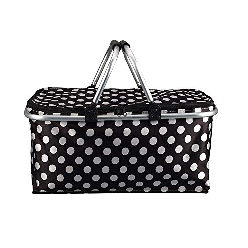 ZAIHW Picnic Basket Foldable Large Picnic Insulated Bag Drinks Cooler Bag Collapsible Insulation Box with 2 Aluminum Carry Handles for Family Outdoor Parties Travel Picnic BBQ -