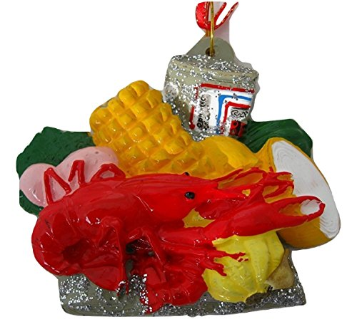New Orleans Hand painted Crawfish Lobster Boil Budweiser Beer Corn on the Cob, Onions, Holiday Christmas Tree Ornament Free Drawstring Bag Mardi Gras Cajun Creole Party