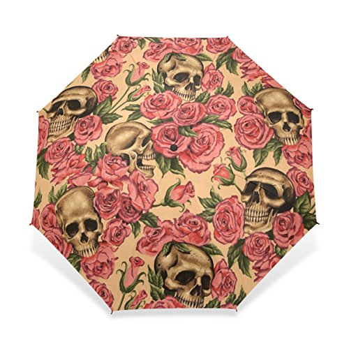 JSTEL Compact Windproof and Portable Durability Travel Foldable Rain Umbrella for Easy Carrying Skull Red Rose Pattern (Skull Umbrella)