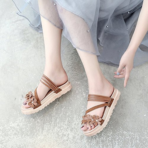 Rubber Fashion WHLShoes Flat Breathable Slippers Wild Apricot Anti Skid Flowers With women Women'S slippers color Casual Summer RqppYwgx