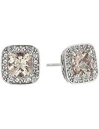 Platinum Plated Sterling Silver Swarovski Genuine Misty Rose and White Topaz Halo Stud Earrings