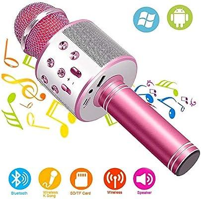 Wireless Bluetooth Karaoke Microphone Machine,Portable Handheld Karaoke Bluetooth Handheld Karaoke Speaker Player Machine for Kids Adults Girl Boy
