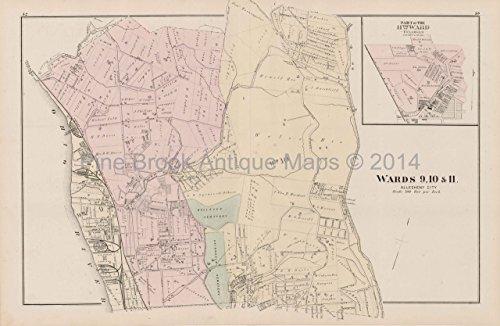 Allegheny City Bellevue Pennsylvania Antique Map Hopkins 1876 Allegheny County Decor Gift Ideas ()