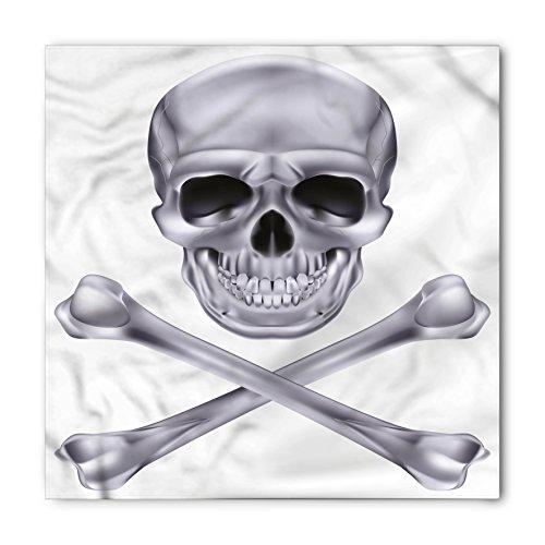 Ambesonne Unisex Bandana, Grey Vivid Skull Crossbones, Dimgray