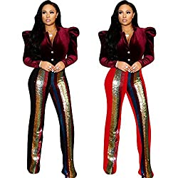 Women's High Waist Wide Leg Sequin Leggings