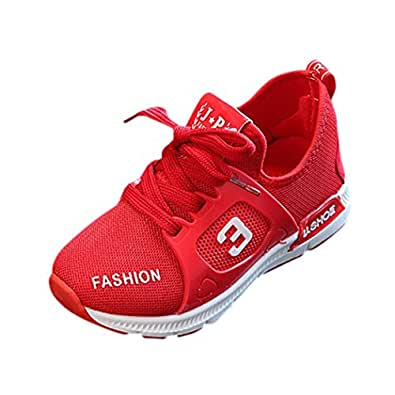 Kids Sports Sneaker Breathable Fashion Sneakers Casual Slip-On Loafers Athletic Sports Shoe for Kids Boy and Girl (Age: 5-5.5T, Red)
